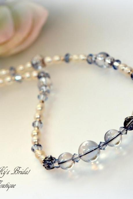 Something Blue Bridal Necklace, Pearl and Crystal Bridal Necklace, Wedding Jewelry