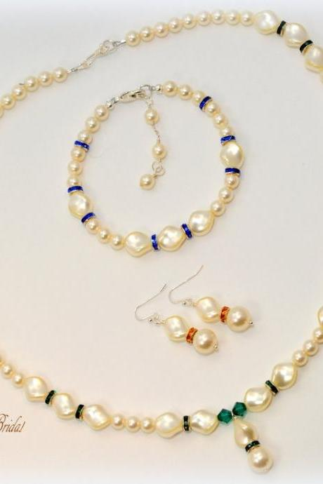 Bridesmaid Jewelry Set, Pearl Jewelry Set, Wedding Jewelry Sets, Bridal Jewelry Set