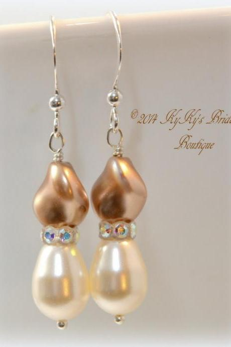 Champagne Pearl Bridal Earrings, Champagne Pearl Bidesmaid Earrings, Wedding Jewelry, Bridesmaid Gift, Mother Of The Bride