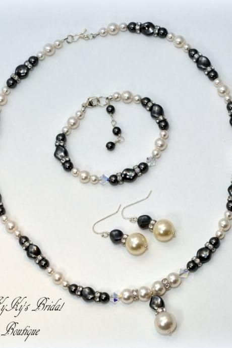 Pearl Bridal Jewelry Set, Gray Pearl Jewelry Set, Wedding Jewelry Sets, Bridesmaid Jewelry Set, Bridesmaid Gift