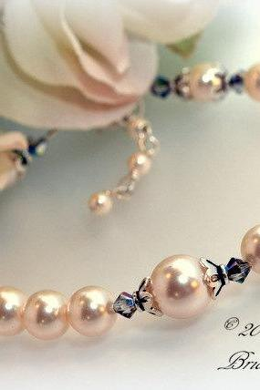 Pearl Bridesmaid Bracelet with Swarovski Crystals, Bridal Bracelet, Sterling Silver Jewelry