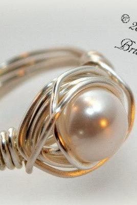Bridal Ring, Pearl Ring, Sterling Silver Wire Wrapped Ring, Right Handed Ring, Bridesmaid Ring
