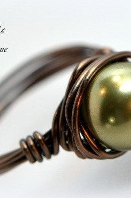 Bridesmaid Pearl Ring Bronze Wire Wrapped Ring, Right Handed Ring, Wedding Jewelry
