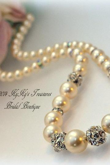 Bridal Necklace, Wedding Jewelry, Pearl Necklace, Rhinestone Necklace, Swarovski Pearls, Prom Jewelry