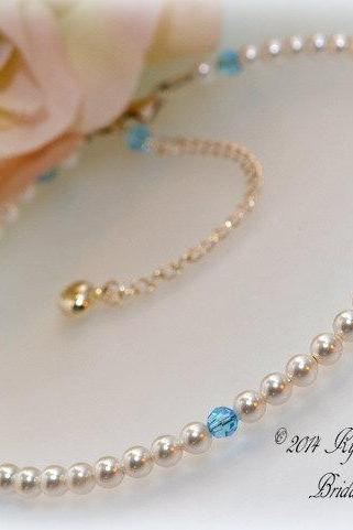 Bridal Anklet, Wedding Jewelry, Pearl Anklet, Beach Wedding, Outdoor Wedding, Aquamarine Anklet