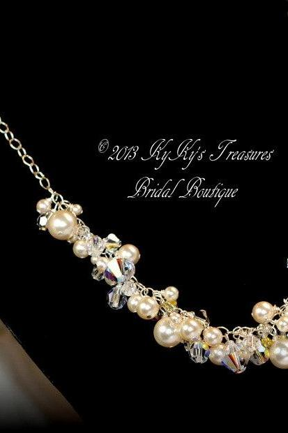 Bridal Necklace, Sterling Silver with Swarovski Pearls & Crystals, Pearl Necklace, Bride, Bridal Jewelry, Wedding, Sterling Silver