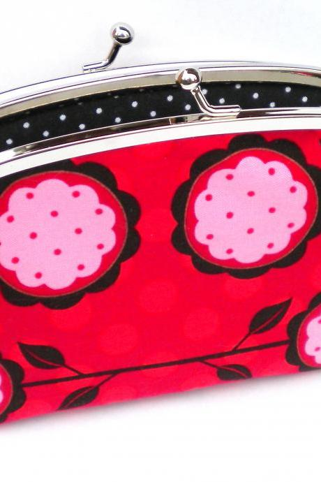 coin purse wallet with double frame snap lock - red flowers and polka dot fabric