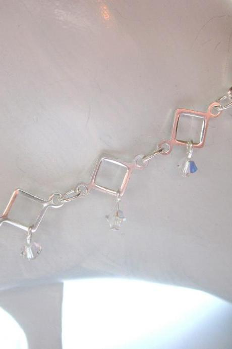 Swarovski Crystal sparkling dangle anklet, summer jewelry