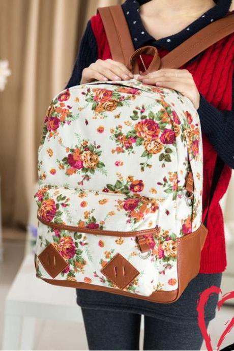 Floral Pattern Canvas Backpack