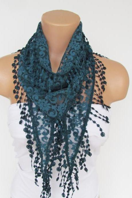 Teal Green Lace Scarf With Fringe New Season Scarf-Headband-Necklace- Infinity Scarf- Accessory-Long Scarf-Fall Fashion