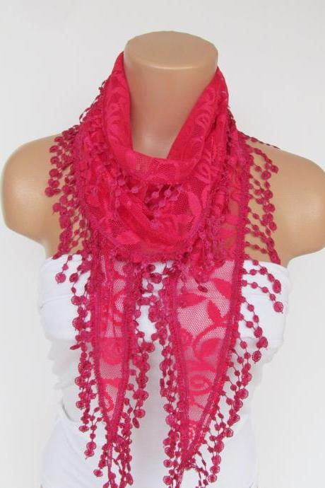 Fuchsia Lace Scarf With Fringe New Season Scarf-Headband-Necklace- Infinity Scarf- Accessory-Long Scarf-Fall Fashion