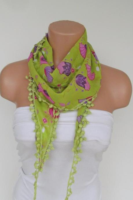Long Scarf With Fringe-New Season Scarf-Headband-Necklace- Infinity Scarf- Spring Accessory-Floral Green Scarf-New Season-Gift