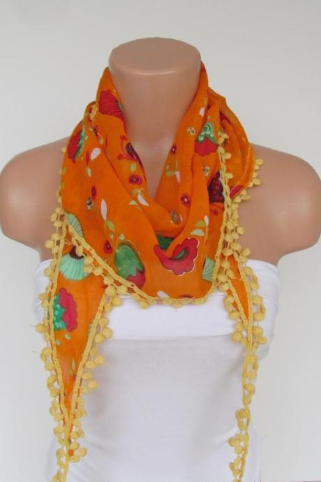 Long Scarf With Fringe-New Season Scarf-Headband-Necklace- Infinity Scarf- Spring Accessory-Floral Orange Scarf-New Season-Gift