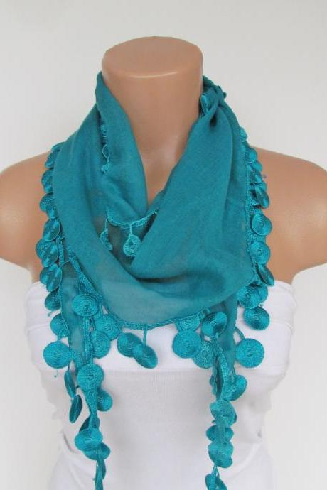 Long Scarf With Fringe-New Season Scarf-Headband-Necklace- Infinity Scarf- Spring Accessory-Turquoise Scarf-New Season-Gift