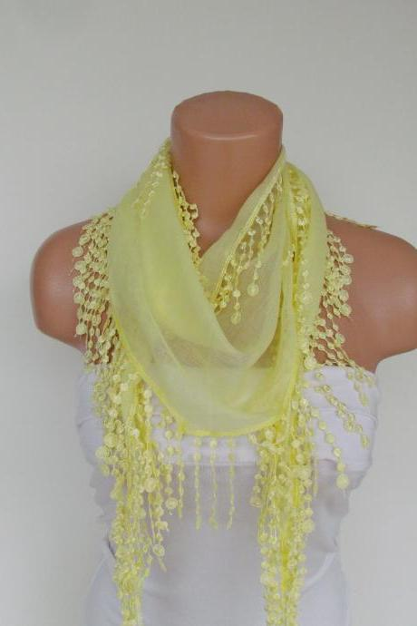 Long Scarf With Fringe-New Season Scarf-Headband-Necklace- Infinity Scarf- Spring Accessory-Yellow Scarf-New Season-Gift