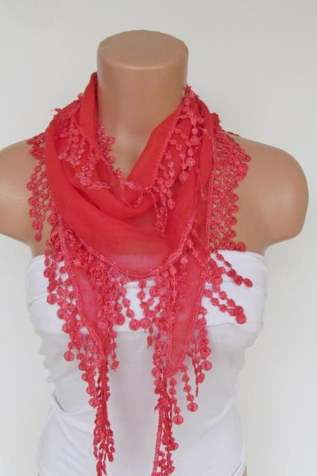Long Scarf With Fringe-New Season Scarf-Headband-Necklace- Infinity Scarf- Spring Accessory-Red Scarf-New Season-Gift