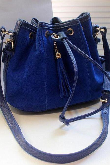 Elegant Blue Tassel Design Fashion Bag