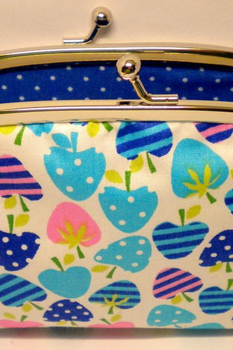 Kiss clasp frame coin purse made with Blue Strawberry fabric in two compartments eg. 2 sections- Polka dots