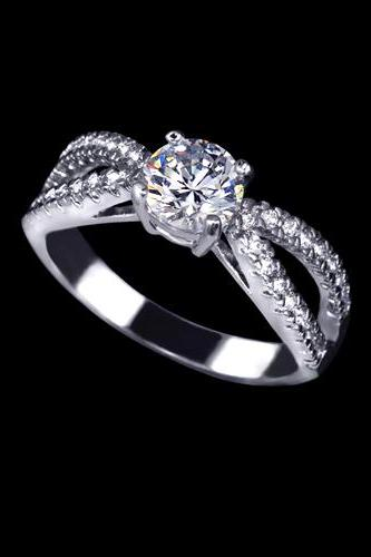 Wave Band Design Tiny CZ Pave 0.75ct Engagement Anniversary Lovers Ring - available sz 5, 6, 7.25 only