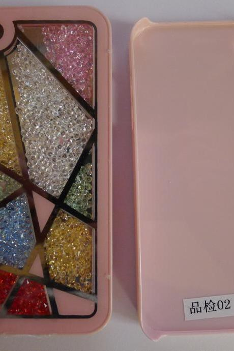 iphone 4 4S Pink Bling Luxury Rainbow Colorful Element Crystals Phone Back Case Cover