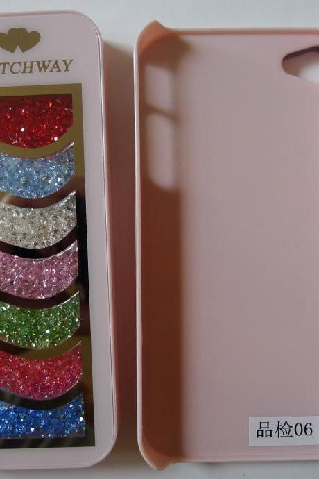 iphone 4 4S Pink Bling Luxury Rainbow Colorful Element Crystals Curve Phone Back Case Cover