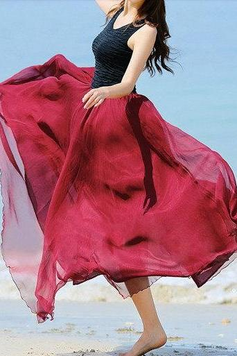 Wine red Woman Lady Bohemian Long Silk chiffon Casual Leisure Beach Maxi Skirt(0020)