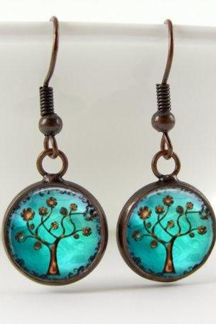 Copper Tree Earrings: Dangle Style. Handmade Jewelry (1001)