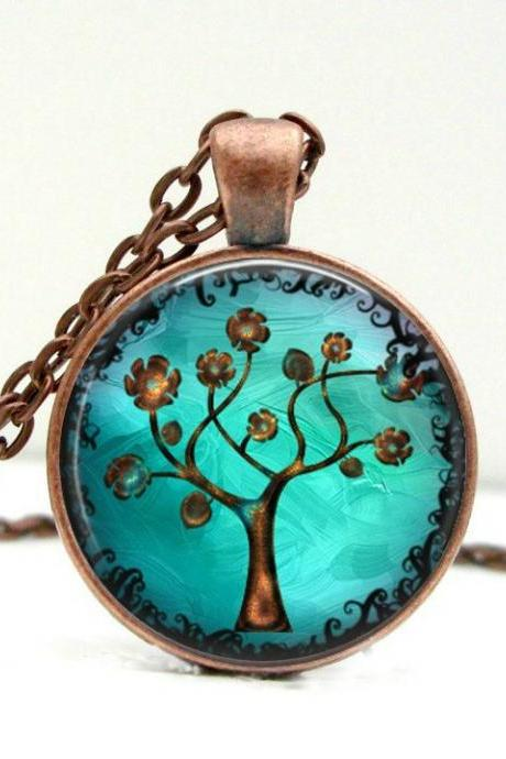 Copper Tree Necklace: Picture Pendant. Art Pendant. Handmade by Lizabettas