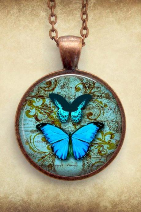 Blue Butterfly Necklace: Picture Pendant. Art Pendant. Handmade by Lizabettas