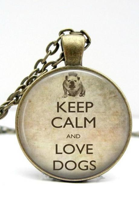 Keep Calm and Love Dogs Necklace: Keep Calm and Carry On Jewelry. Picture Pendant. Art Pendant. Handmade by Lizabettas