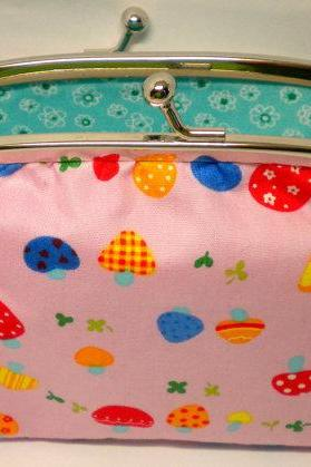 Unusual coin purse with cute mushroom design, frame wallet - aqua blue 2 compartment interior - kawaii