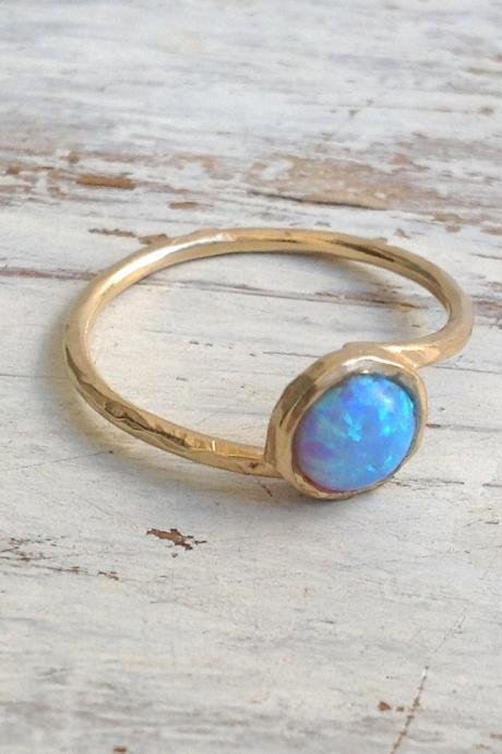 gold filled ring, gemstone ring, stacking ring, blue opal ring, gold rings, blue opal, thin ring, hammered ring - t 13