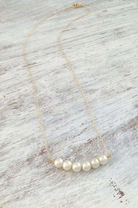 bridesmaid necklace, gold necklace, gift for her, white pearls and gold, gold necklace, weddings - 557