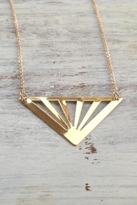 Gold necklace, geometric necklace, triangle necklace,statement necklace, geometric gold necklace 3011