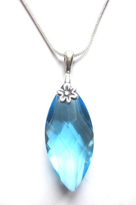 Sparkling Aquamarine Swarovski Crystal Navette Pendant on Sterling Siver Snake chain, Sparkle for a Cause, Feed The children, summer jewelry