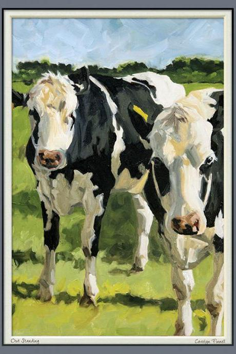 Limited edition animal art print in 11x14 mat, from original painting of cows, 'Out Standing'