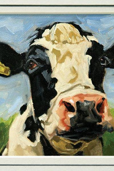 Cow art print, from an original painting, 'Bovine Bliss', in 8x10 double mat