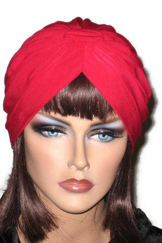 Red Handmade Banded Single Knot Fashion Turban