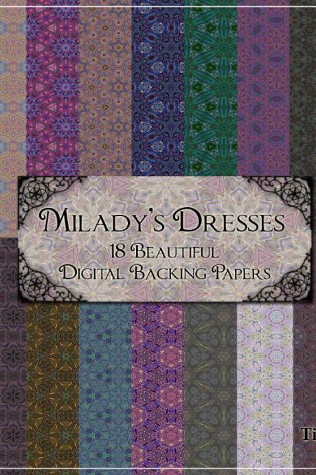 Digital Backing Papers - Milady's Dresses - 18 Fabric Style Digital Background Papers -Versatile Paper for Scrapbooking, Birthday Card