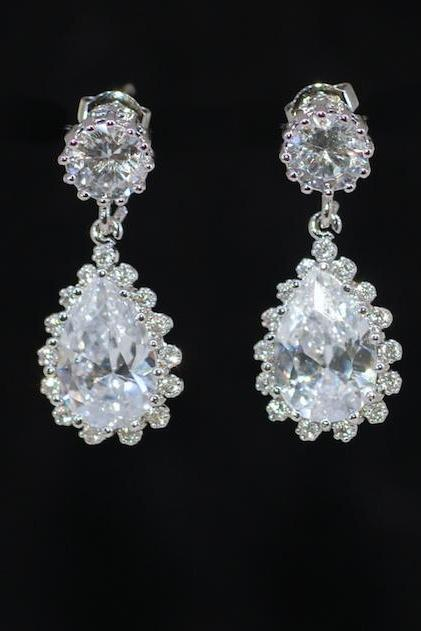 Wedding Earrings, Bridesmaid Earrings, Bridal Jewelry - Cubic Zirconia Round with Teardrop (E674)