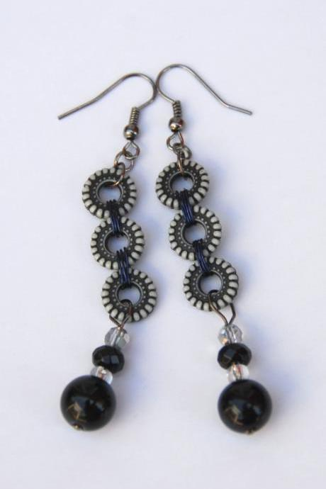 Pretty Black and White Beaded Earrings