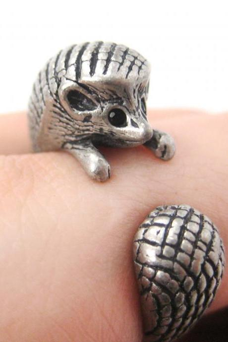 Hedgehog Animal Wrap Ring in Silver Sizes 4 to 9 US Realistic and Cute!