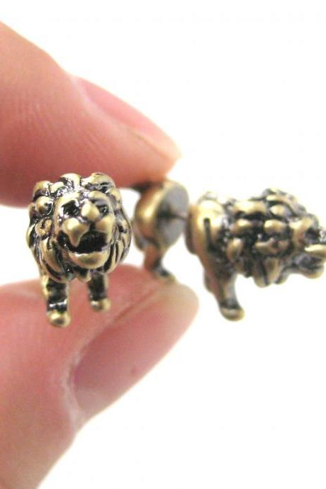 UNIQUE FAKE GAUGE LION SHAPED ANIMAL STUD EARRINGS IN BRASS