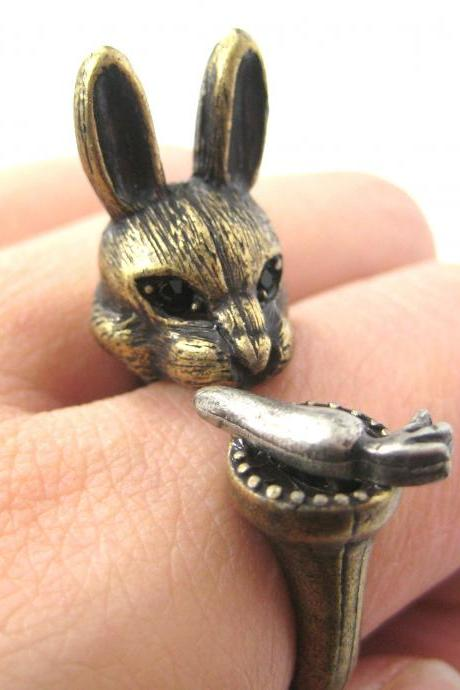 LARGE BUNNY RABBIT AND CARROT SHAPED ANIMAL RING IN BRASS | SIZES 7 TO 11
