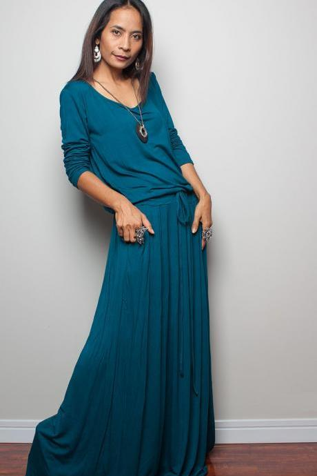 Turquoise Maxi Dress - Long Sleeve dress
