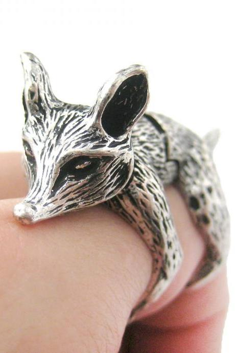 LARGE FOX SHAPED ARMOR JOINT KNUCKLE ANIMAL RING IN SILVER | SIZE 5 TO 9
