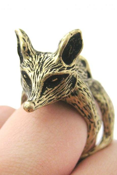 LARGE FOX SHAPED ARMOR JOINT KNUCKLE ANIMAL RING IN BRASS | SIZE 5 TO 9