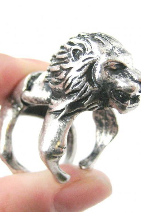 LARGE LION SHAPED ARMOR JOINT KNUCKLE ANIMAL RING IN SILVER | SIZE 5 TO 9