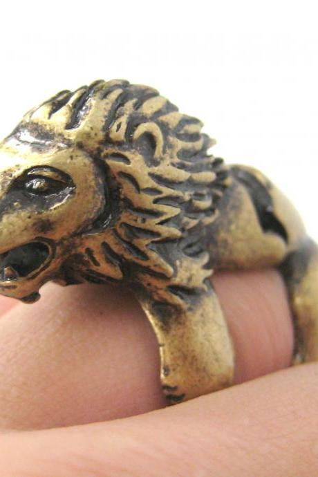 LARGE LION SHAPED ARMOR JOINT KNUCKLE ANIMAL RING IN Brass | SIZE 5 TO 9
