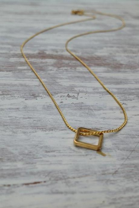 Necklace, gold necklace, square gold necklace, small gold necklace, tiny gold necklace, delicate necklace -050